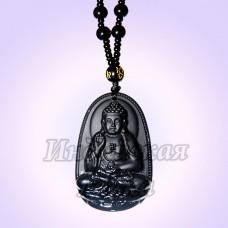 Чётки для медитации под камень с подвеской Будда 6мм, 38см, 108 Gray