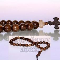 Четки православные с крестиком Дуб Морёный, 30 бус, 10mm, 31см