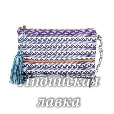 Сумка-косметичка с декоративной отделкой (хлопок) синяя кисть