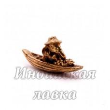 Фигурка Ганеш в лодке, бронза, 4 х 2 см.