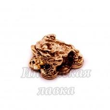 Фигурка Жаба на монетах, бронза, 1 х 2,5 см.
