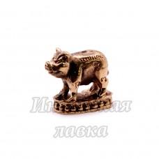 Фигурка Свинья на постаменте, бронза, 2 х 2 см