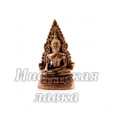 Фигурка Будда сидит на троне, бронза, 3,5 х 2 см.