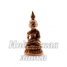 Фигурка Будда на цветке лотоса, бронза, 4 х1.8 см.