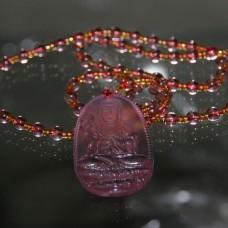 Чётки для медитации под камень с подвеской Гуанинь, 6мм, 38см, 108 бусин