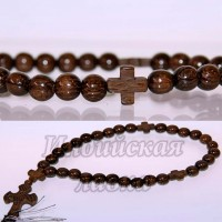 Четки православные с крестиком Дуб, 30 бус, 10mm, 26см.