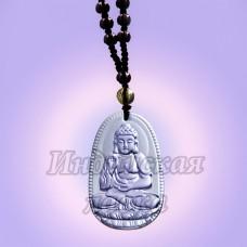 Чётки для медитации под камень с подвеской Будда, 6мм, 38см, 108 Blue