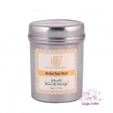 Маска-убтан для лица Роза и Апельсин Кхади 50 гр (для жирной и комбинированной кожи)