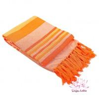 Плед-покрывало самотканый 100% хлопок 140х180см - оранжевое