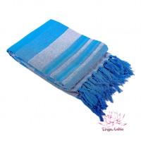 Плед-покрывало самотканый 100% хлопок 140х180см - синее