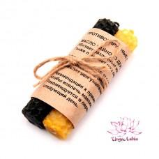 Свечи пчелиный воск, 2 свечи желт. + черн. - набор противовирусный
