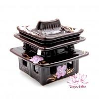 Аромалампа керамическая Пагода две чаши 12см