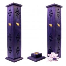 Подставка под благовония. Башня из дерева Шишам 31cm-7,5cm Фиолетовая