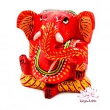 Статуэтка Ганеш Ganesh красный резная из деpева 11см