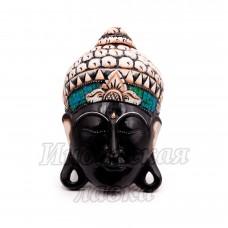 Маска настенная Голова Будда дерево Суар 30 см
