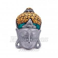 Маска настенная Голова Будда дерево Суар 30 см (светлая)