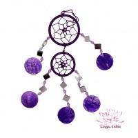 Ловец снов фиолетовый с зеркалами Дарует защиту Богов d-6cm 25cm