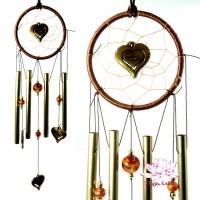 Музыка ветра Фен Шуй с Сердечками 4 палочки 46см d-10см дерево металл